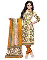 Salwar Studio Orange & White Cotton Dress Material with Dupatta SHIMAYAA-1220