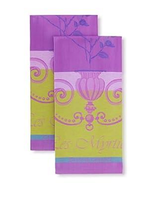 Garnier-Thiebaut Set of 2 Myrtilles Kitchen Towels, Violet