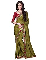 Brasso Green & Colour Saree for Party Wear