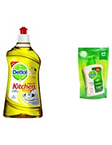 Dettol Kichen Dish and Slab Gel - 750 ml (Lime Flavour) with Free Dettol Liquid Soap - 185 ml Pouch