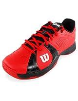 Wilson Rush Sports Shoe Red Black + Puma Tri Socks + Wilson Australian Open Ball Can (IND / UK 11)