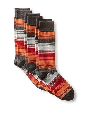 2xist Men's Dress Crew Socks F13 Stripe - 3 Pack (Black/Charcoal)