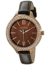 Caravelle New York  Crystal Analog Champagne Dial Women's Watch - 44L124