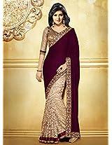 Stunning Velvet Majenta Saree