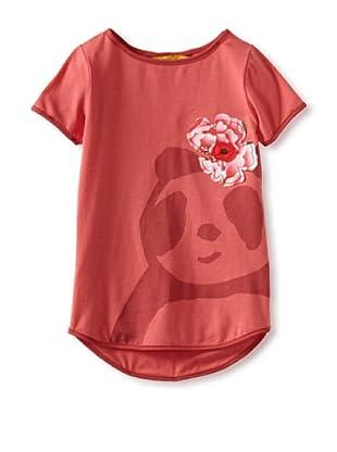 Zolima Panda Girl's T-Shirt with Appliqué (Papaya Red)