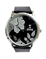 Black Pu Leather Watch With Black Dial