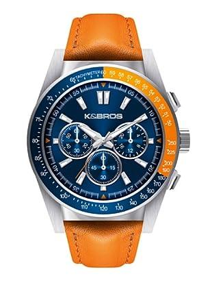 K&BROS 9902-4 / Reloj de Caballero con correa de piel Naranja