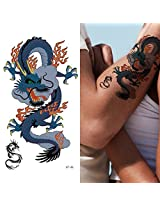 Supperb Temporary Tattoos Blue Dragon On Fire