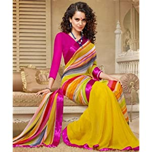 Yellow and Pink Colour Georgette Saree and Silk Georgette Blouse Material designer Concept Sarees : 2-in-1 Collection - YF-14744