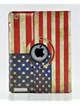 LiViTech(TM) 360 Degree PU Leather Vintage USA/UK Flag Style for Apple iPad 2 3 4 (Smart Cover's Sleep & Awake) (USA)