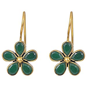 Aura Accessories Green Flower Earring