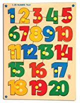 Skillofun 1-20 Number Shape Tray with Knobs, Multi Color