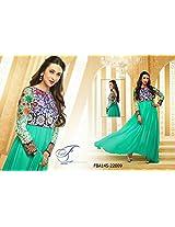 Fabboom Karishma Kapoor Aqua Green Neck Embroidered Anarkali Suit