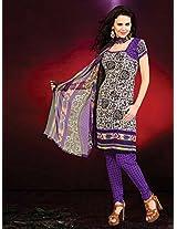 Crepe Printed Purple Unstitched Churidar Suit - BNJ3007