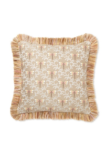 Elsa Blue Dragonfly Mini with Fringe Indoor/Outdoor Pillow, 17