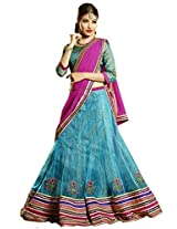 Melluha Blue Net Embroidered Booti and Border work Lehenga with Chiffon Dupatta