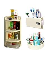 CiplaPlast Combo of Italy Corner Bathroom Cabinet, Tooth Brush Holder & Multi-Purpose Container - Ivory