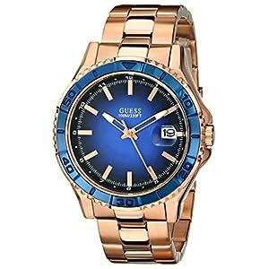 GUESS Men's U0244G3 Color Sport Blue Dial Rose Gold-Tone Watch