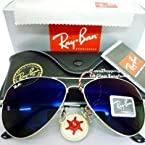 Rayban Silver With Blue Unisex Aviators