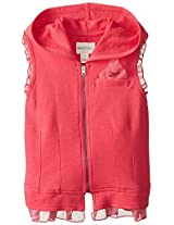 Diesel Big Girls' Sbalzy Zip Hoodie Vest with Silk Trim, Raspberry, 10 Years