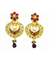 Orne Jewels Gold-Plated Dangle & Drop Earings For Women Red
