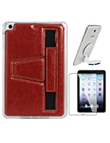 DMG Premium TPU Skin with PU Leather Hand Holder Cover Case For Apple iPad Mini / Mini 2 / Mini 3 (Red) + Universal Octopus Swivel Stand Mount + Matte Screen
