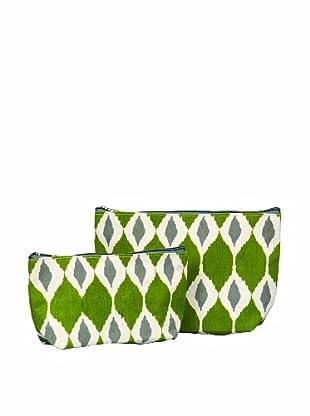 RockFlowerPaper Jai Ikat Olive Zip Bags (Set of 2)