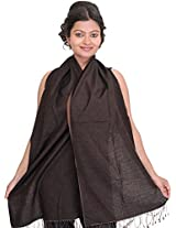 Exotic India Reversible Cashmere Scarf from Nepal - Color Potting SoilColor Free Size