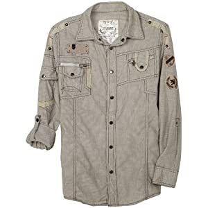 Modern Culture Big Boys' Surplus Long Sleeve Woven Shirt, Natural, Small