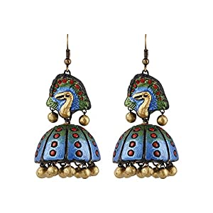 Artistri Peacock Blue And Green Jhumkas With Peacock Motif And Hooks