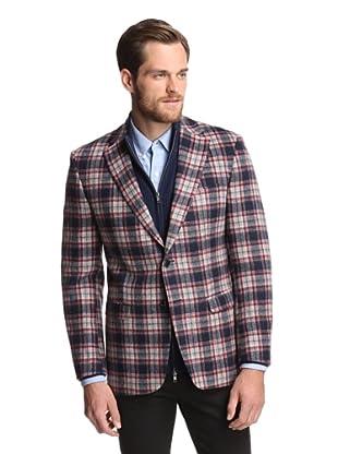 Simon Spurr Men's Plaid 2-Button Sportcoat (Red/Grey)