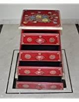 Lalhaveli Handcrafted Hand Painted Work Design Wooden 4 Drawers Cabinet Storage 25 X 20 X 12 Inches