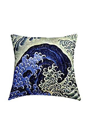 JAPAN MANIA by MANIFATTURE COTONIERE Abwaschbares Kissen Katsushika Hokusai-Feminine Wave