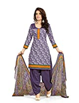 BanoRani Womens Violet Color PolyCotton UnStitched Patiyala Salwar Suit