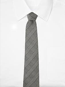 Aquascutum Men's Glen Plaid Silk Tie (Black/White)
