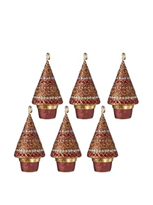 Set of 6 Horizontal Dot Design Cone Tree Placecard Holders