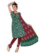 Kala Sanskruti Women Cotton Satin Bandhani Green Dress Material