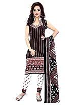 Krisha Print Women Unstitched Churidar Salwar Suit (Black_Free Size)
