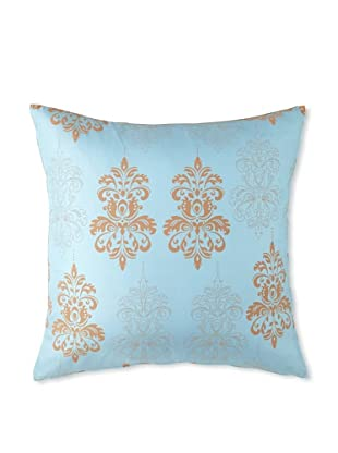 Andres Silk and Suede Throw Pillow 18x18 - Blue