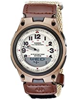 Casio Alarm-Feature Analog-Digital Beige Dial Men's Watch AW-80V-5BVDF