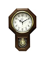 "17.5"" x 11.25"" Essex Westminster Chime Faux Wood Pendulum Wall Clock, Walnut"