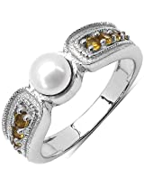 1.18CTW Genuine Pearl & Citrine .925 Sterling Silver Solitaire Ring