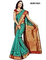 Minaxi Poly Cotton Saree (1081 _Rama Green)