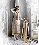 60 gm Georgette Embroidered Cream Semi Stitched Pakistani Suit - 1004