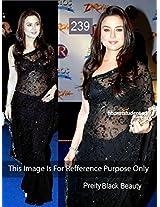 Preity Zinta In Black Net Sari At Drona Movie Premiere