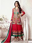 Esha Gupta In Red Jacket Style Long Anarkali Suit