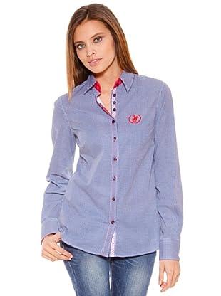 Polo Club Camisa Manga Larga Señora Entallada Cuadro (Azul Marino)