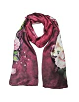 Wrapables Luxurious 100% Charmeuse Silk Floral Painting Long Scarf with Hand Rolled Edges, Peonies on Red-Violet