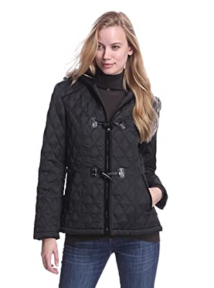 Laundry by Design Women's Quilted Jacket with Toggles (Black)