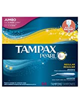Tampax Pearl Plastic Tampons, Regular Absorbency, Unscented, 54 Count